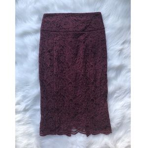 Burgundy Wine Floral Lace Pencil Skirt